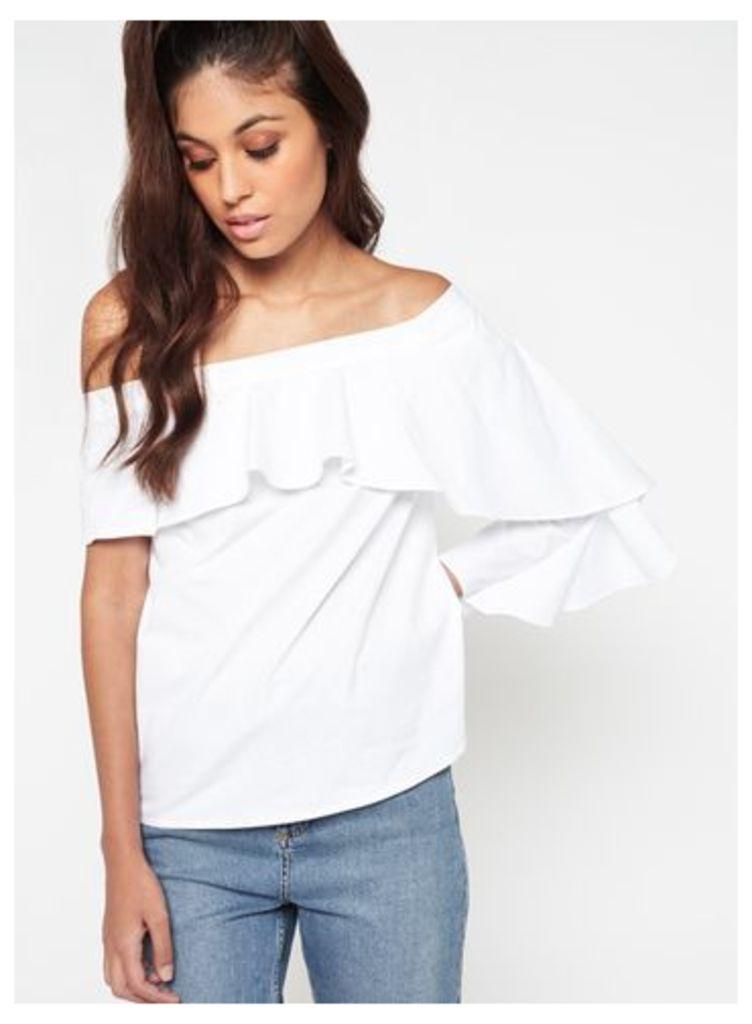 Womens One Sleeve Ruffle Poplin Bardot Top, White