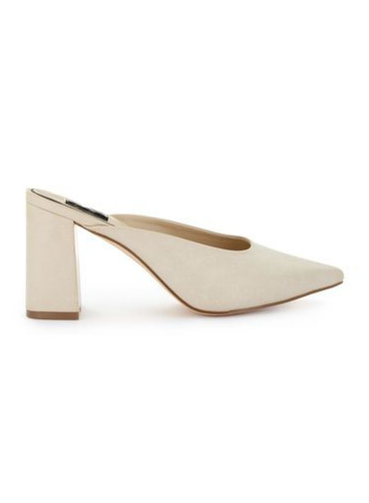 Womens LUCIE Pointed Backless Court Shoes, Nude