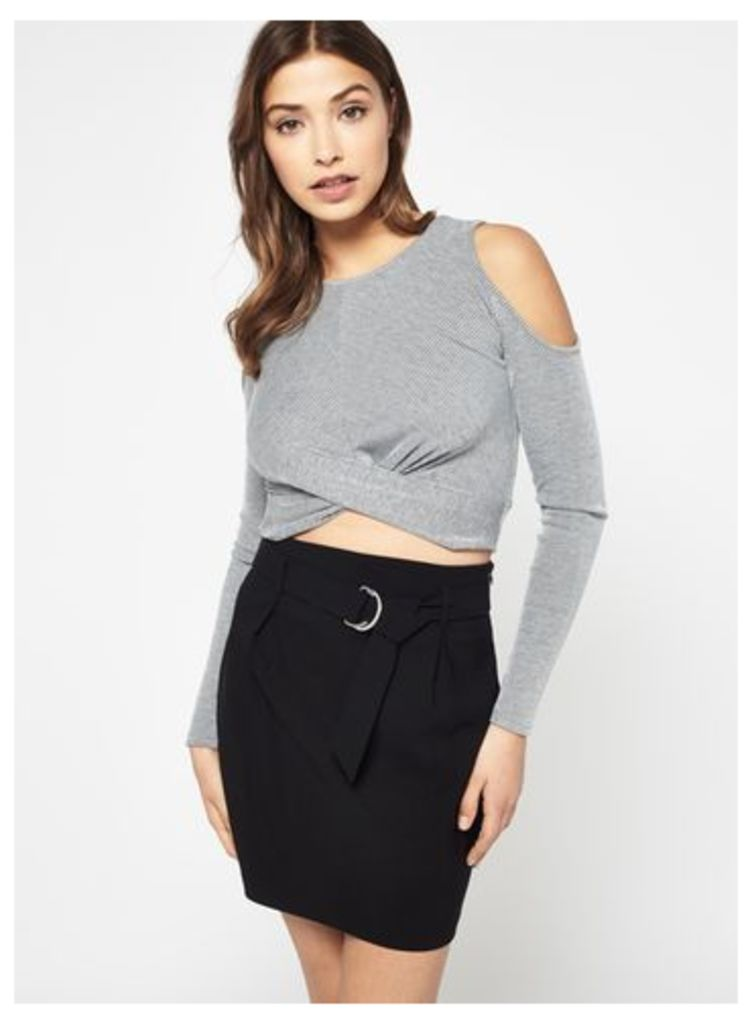 Womens Grey Twist Cold Shoulder Crop Top, Grey