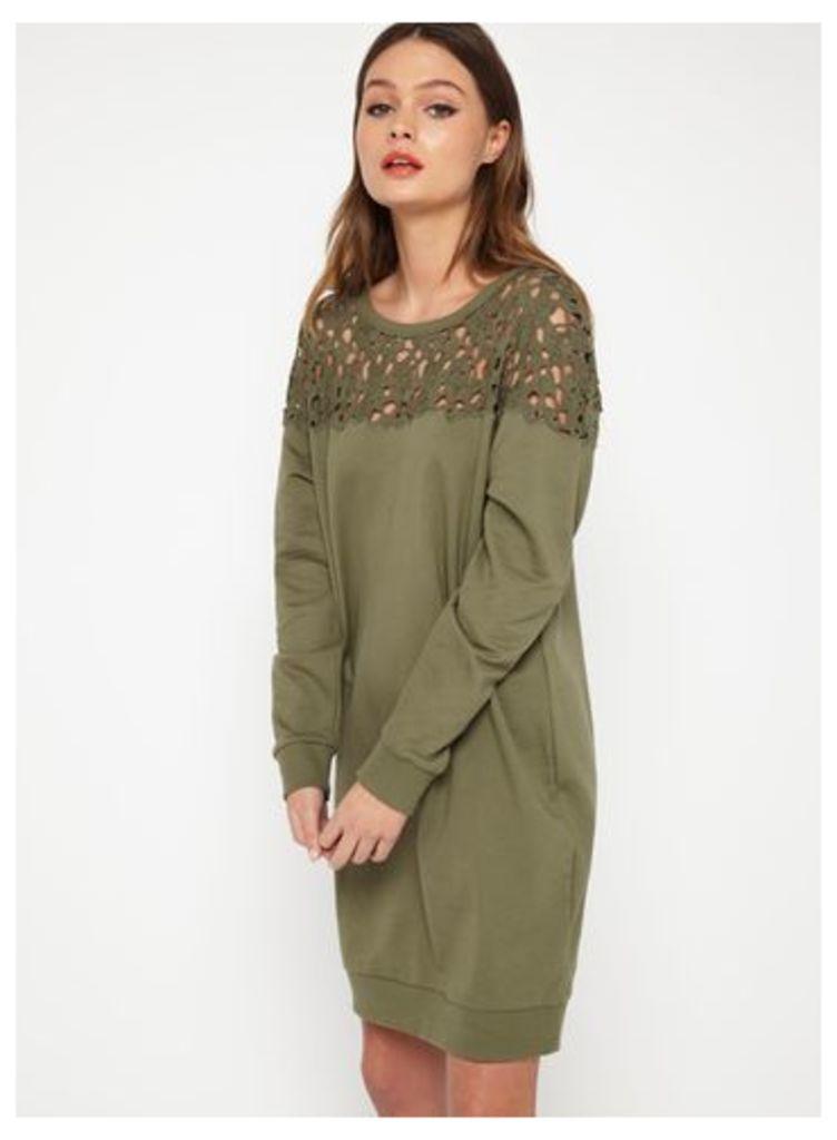 Womens Khaki Lace Yoke Sweat Dress, Khaki