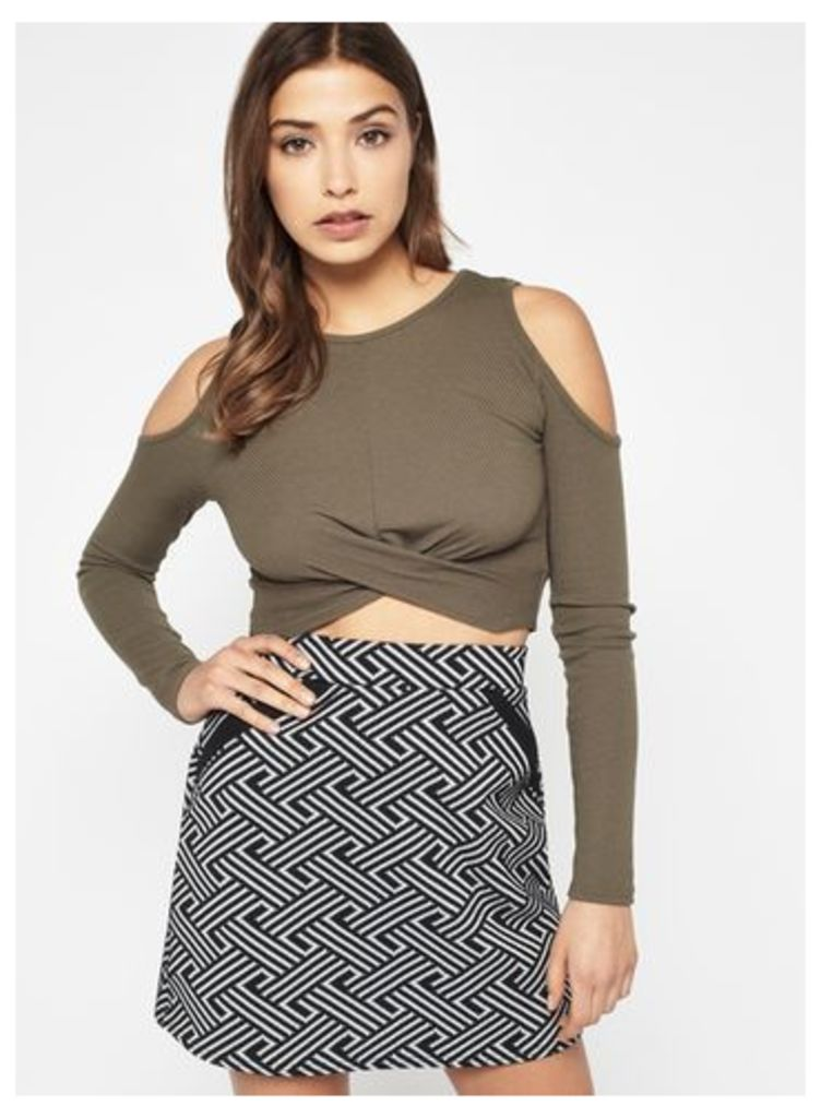 Womens Khaki Twist Cold Shoulder Crop Top, Khaki