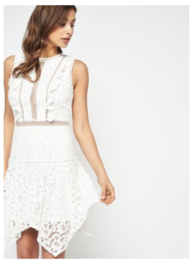 Womens Floral Lace Hanky Hem Dress, Ivory