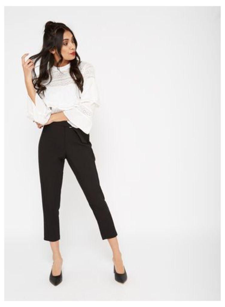 Womens PETITE D-Ring Trousers, Black