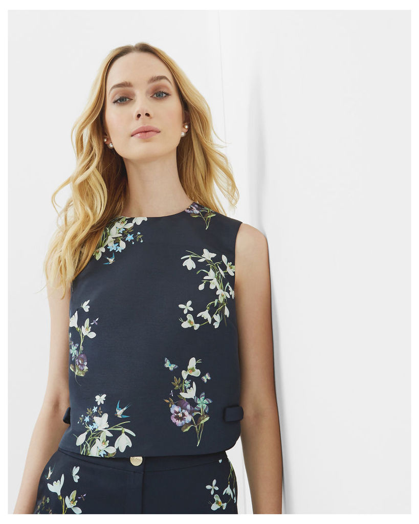 Ted Baker Entangled Enchantment bow cropped top Dark Blue