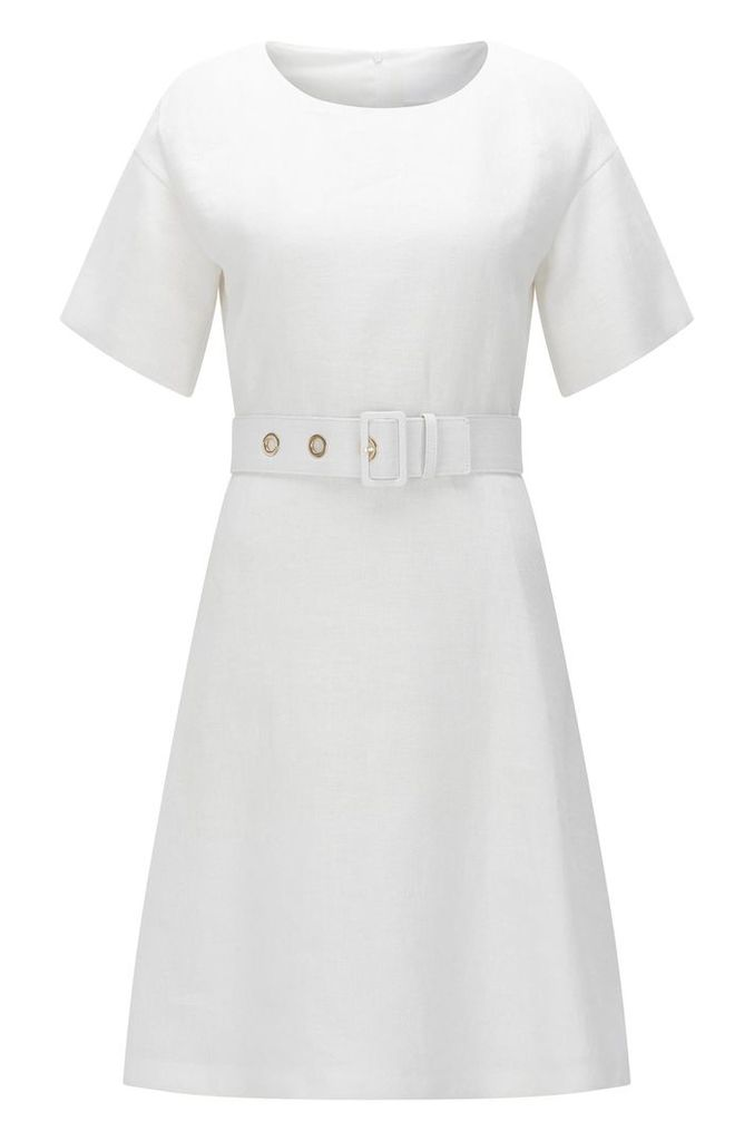 Linen dress with belt: `Dimisa`