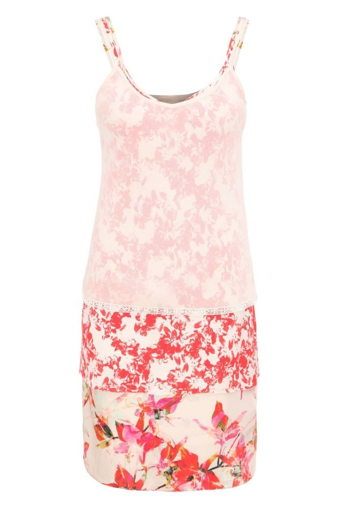 Relaxed-fit 3-in-1 strap dress in a viscose blend with silk and a floral print: `Citour`
