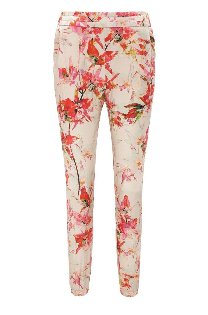 Trousers in a viscose blend with silk in jogger style: `Selise`