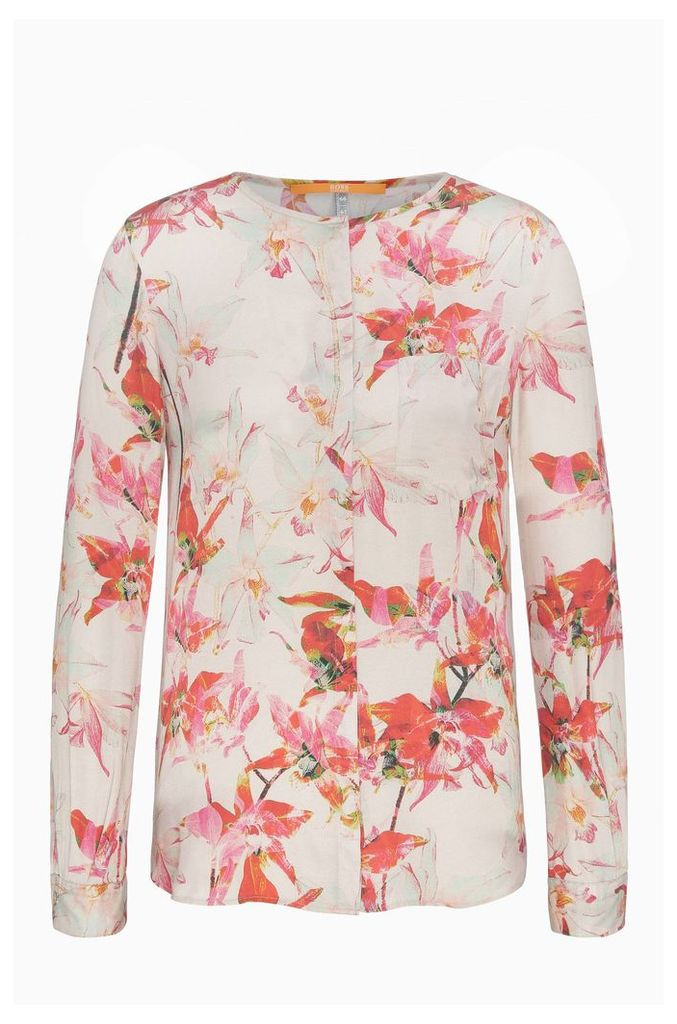Regular-fit blouse in a silk blend with viscose and a floral print: `Eflo`