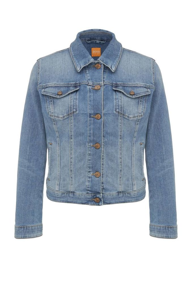 Regular-fit jeans jacket made from a cotton blend in a used look: `Orange J90 Portland`