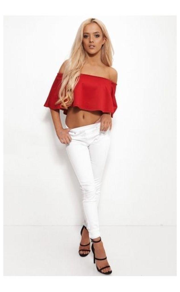 Faye Red Bardot Frill Top