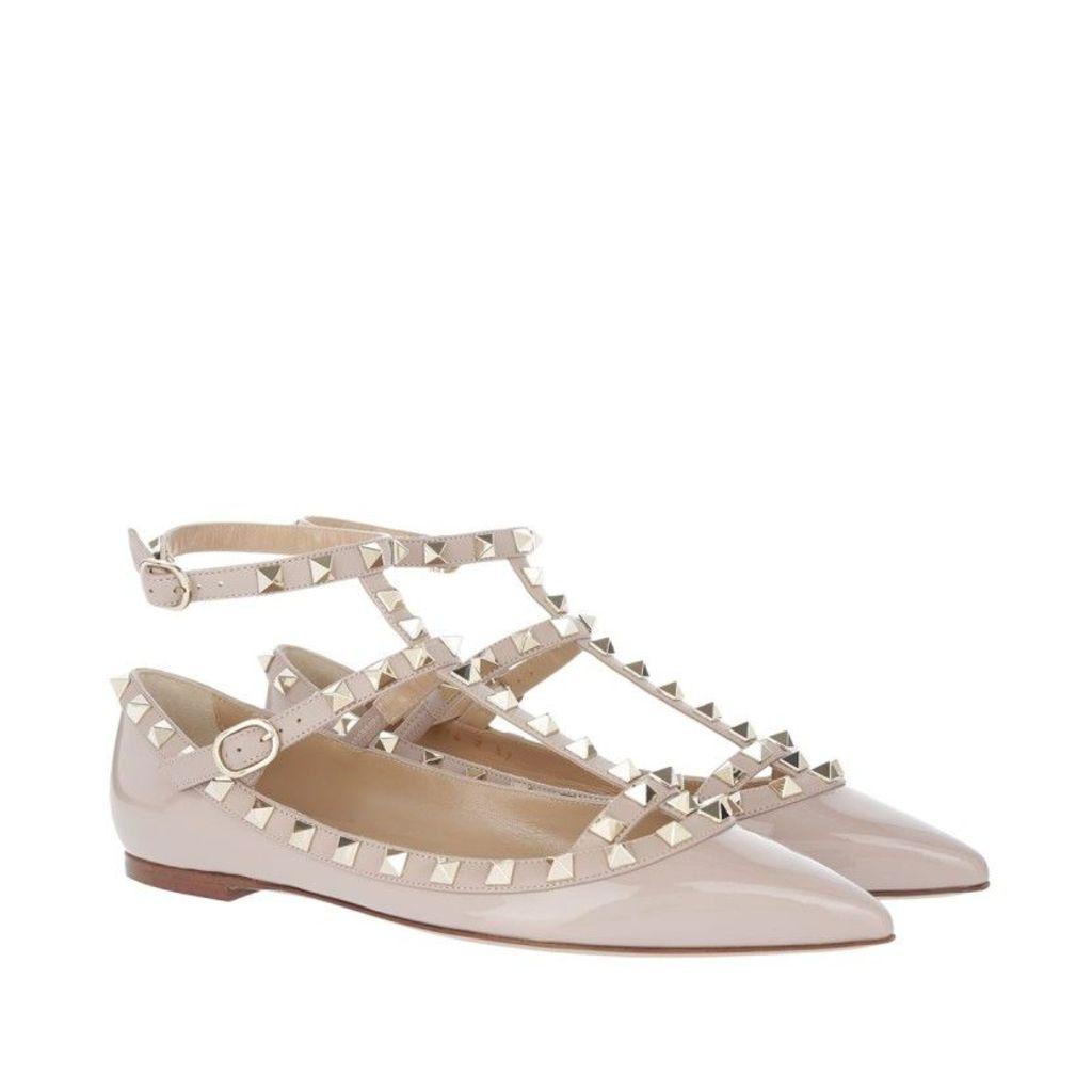 Valentino Ballerinas - Rockstud Pointed Strappy Ballerinas Poudre - in rose, beige - Ballerinas for ladies