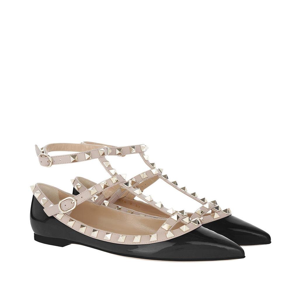 Valentino Ballerinas - Rockstud Pointed Strappy Ballerinas Nero Poudre - in beige, black - Ballerinas for ladies
