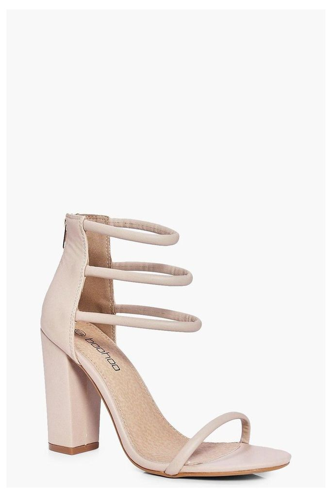 Three Strap Ankle Band Block Heels - nude