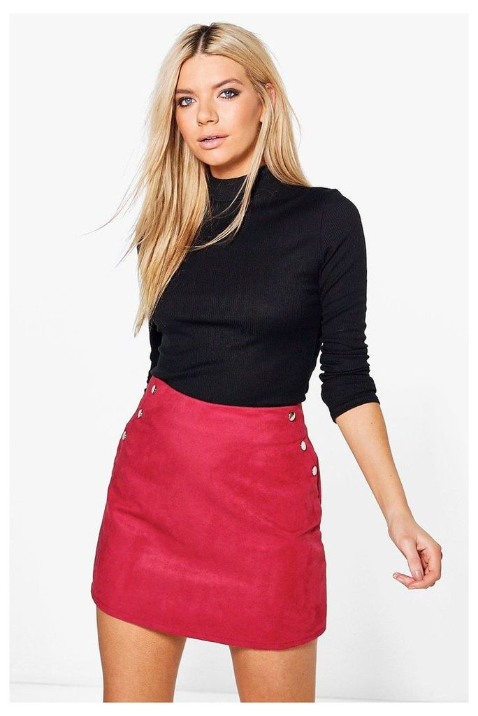 Stud Side Suedette Mini Skirt - berry