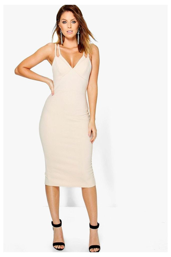 Strappy Cup Detail Midi Dress - stone
