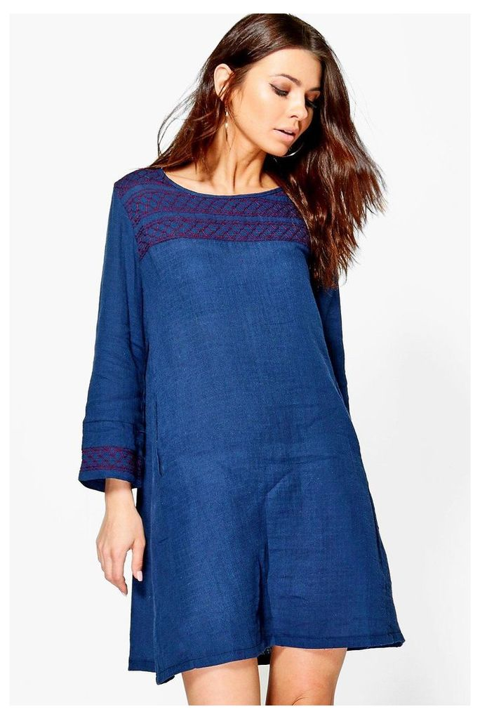 Embroidered Smock Dress - navy