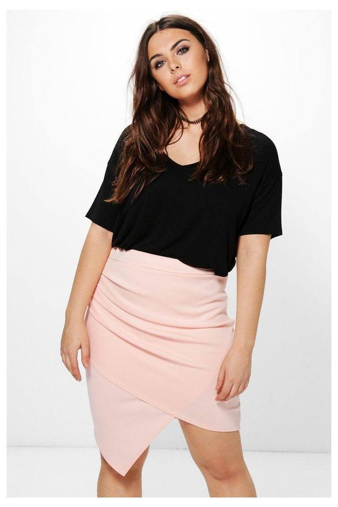 Charlotte Ruched Wrap Midi Skirt - nude