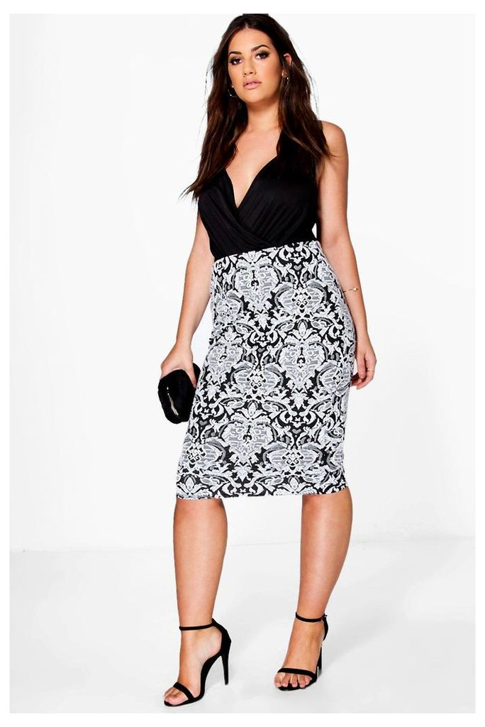 Claire Floral Jacquard Stretch Midi Skirt - multi