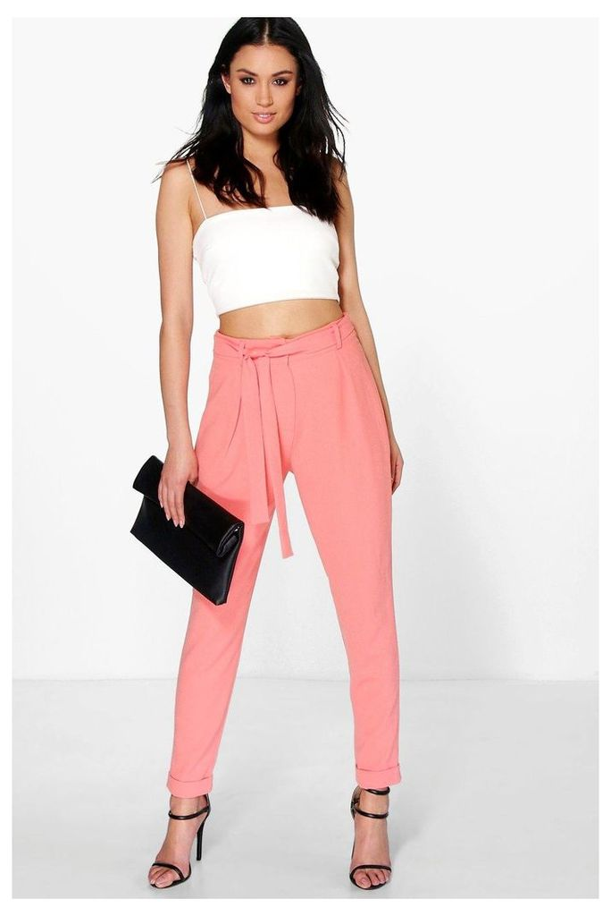 Tie Waist Tailored Slim Fit Trousers - coral