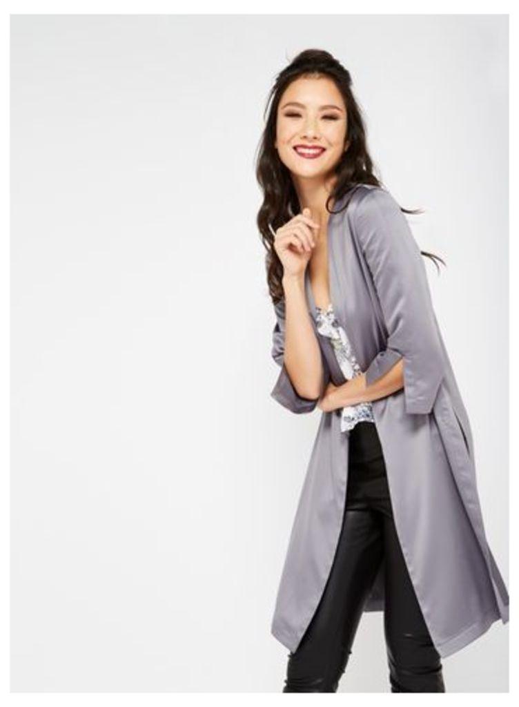 Womens Pewter Satin Side Tie Kimono Jacket, Pink