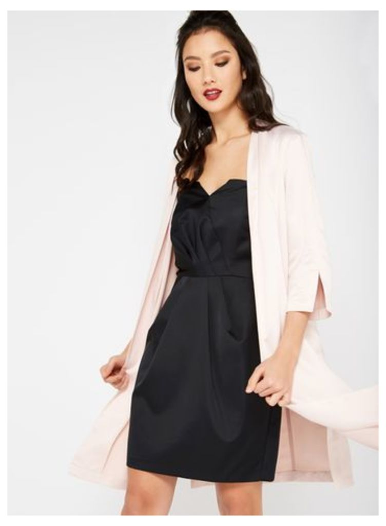 Womens Pink Satin Tie Side Kimono, Pink