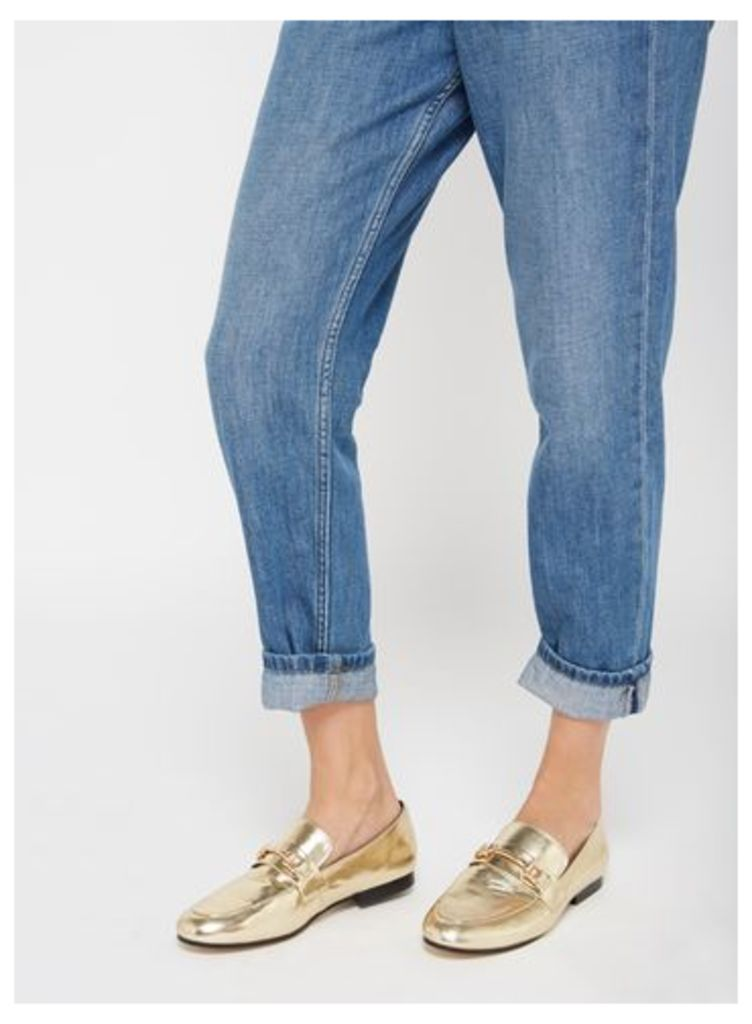 Womens EVITA Gold Full Loafers, Gold Colour
