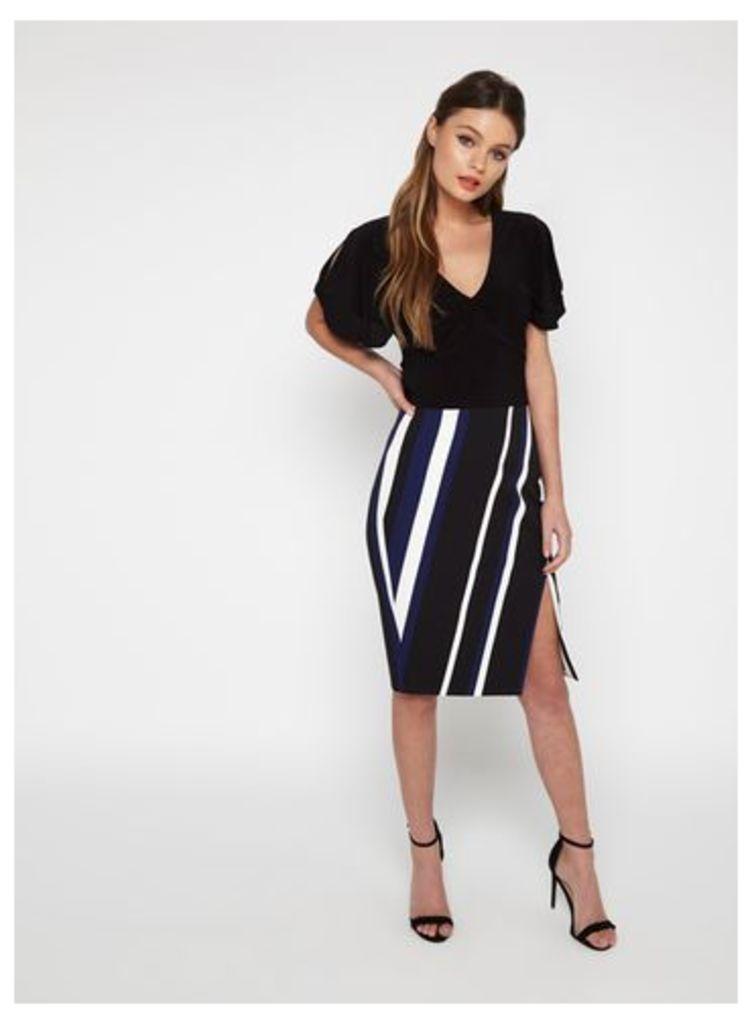 Womens Blue Stripe Wrap Pencil Skirt, Assorted