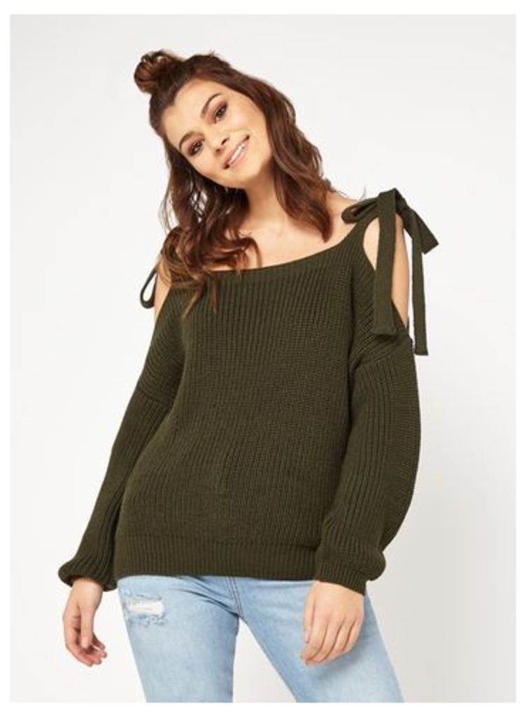 Womens PETITE Tie Cold Shoulder Knitted Jumper, Khaki.