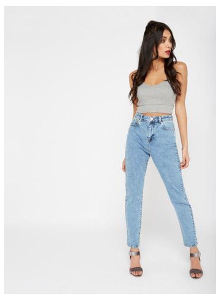 Womens MOM Acid Wash Jeans, Bleached Denim