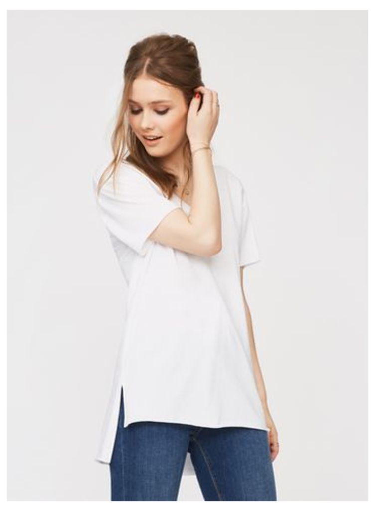 Womens White Longline T-Shirt, White