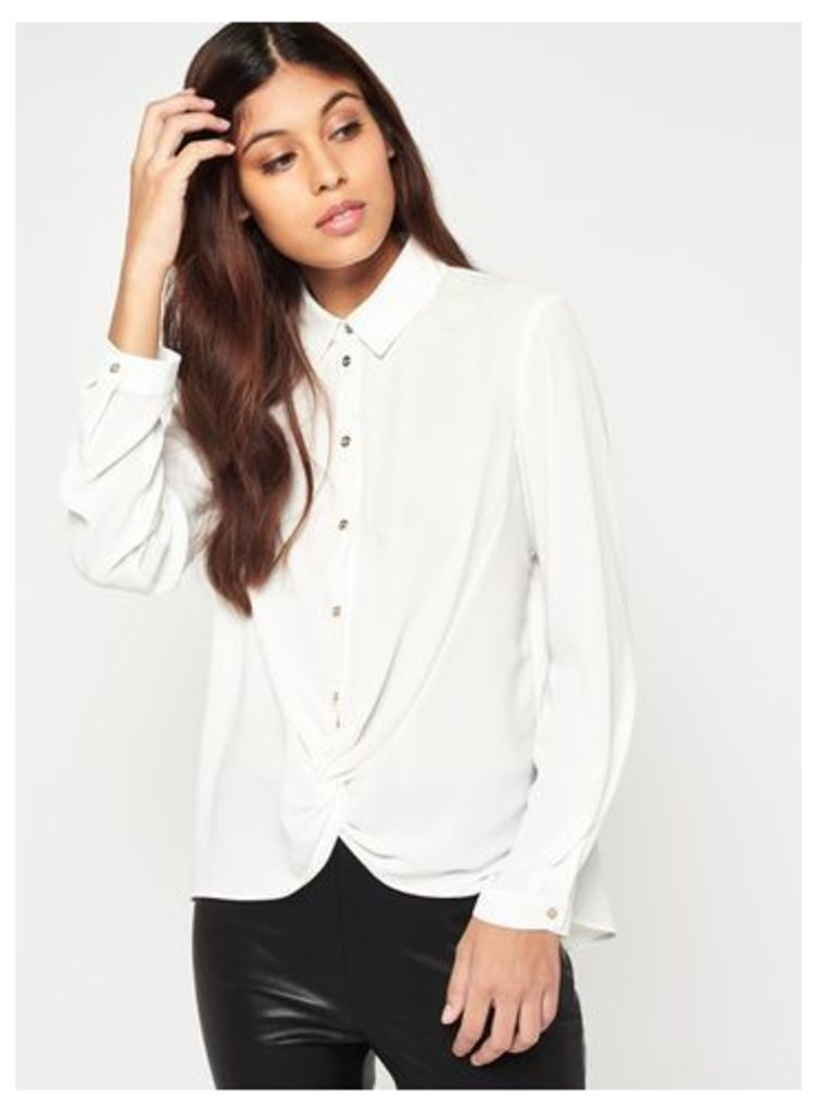 Womens Ivory Knot Front Shirt, Ivory