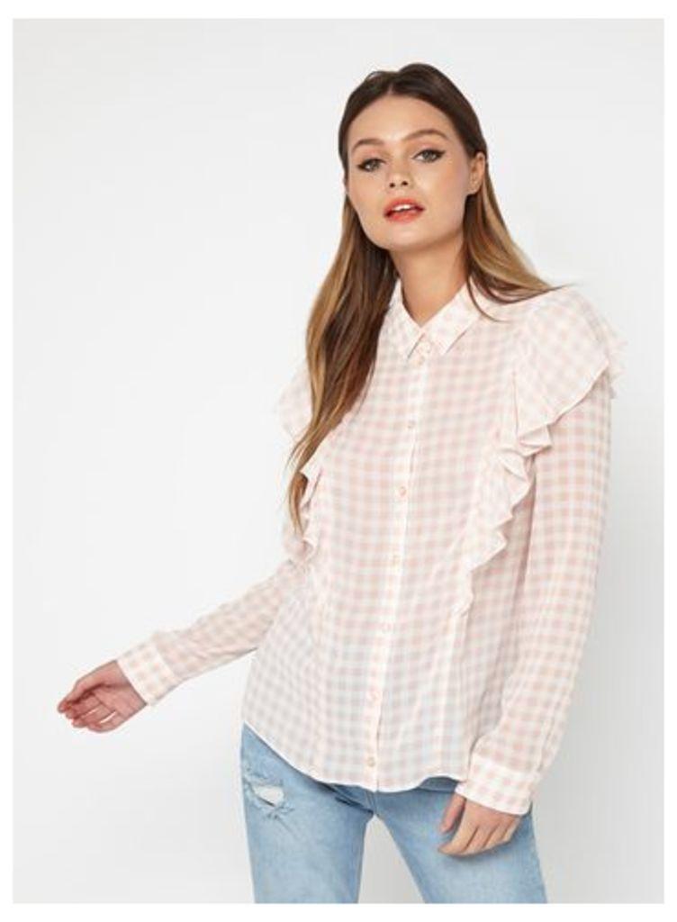 Womens Gingham Ruffle Shirt, Pink
