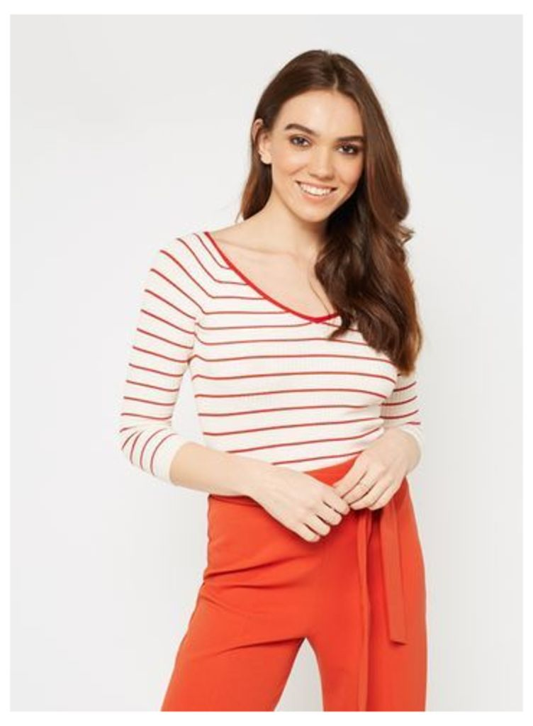 Womens Stripe Tie Back 3/4 Sleeve Knitted Top, Cream