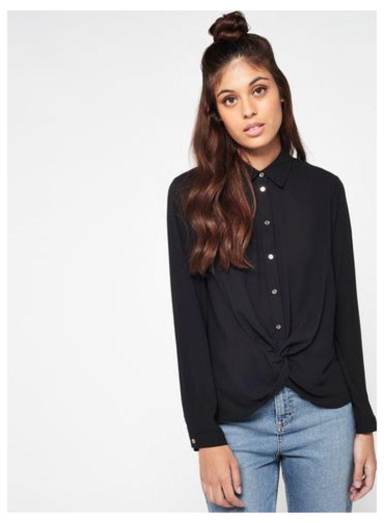 Womens Black Knot Front Shirt, Black