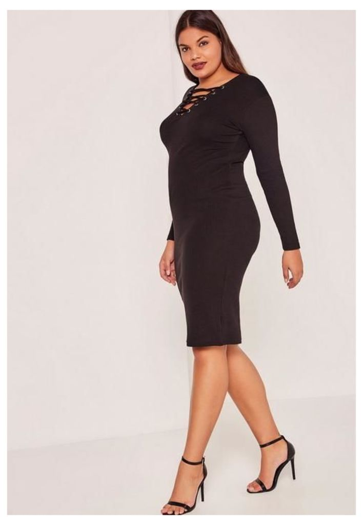 Black Plus Size Ribbed Lace Up Midi Dress, Black