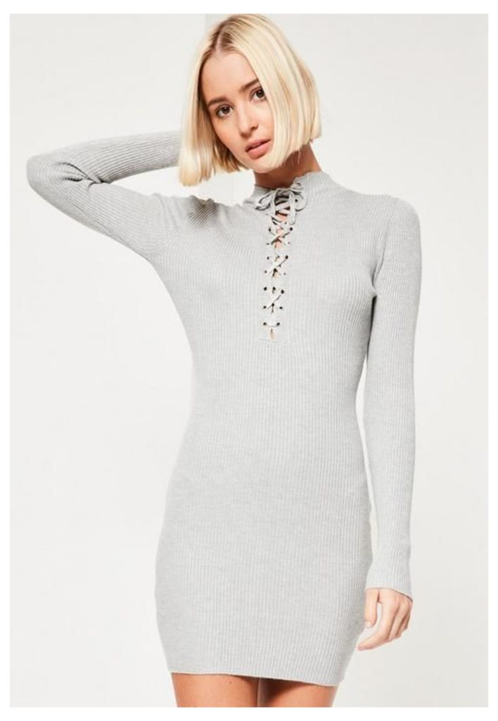 Grey Lace Up Front Mini Jumper Dress, Grey