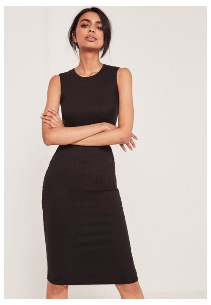 Black Sleeveless Ribbed Midi Dress, Black