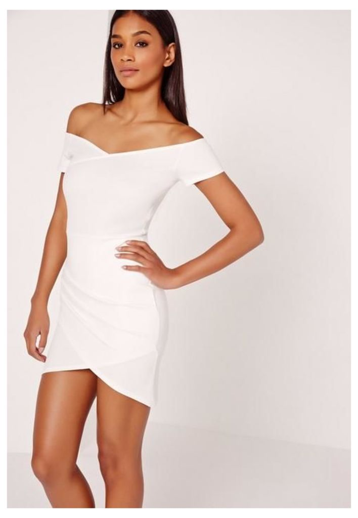 Wrap Bardot Bodycon Dress White, White