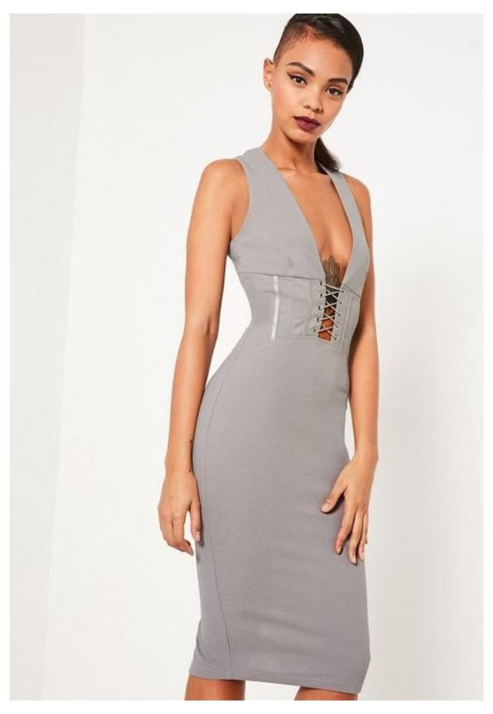 Grey Crepe Sleeveless Corset Detail Midi Dress, Grey