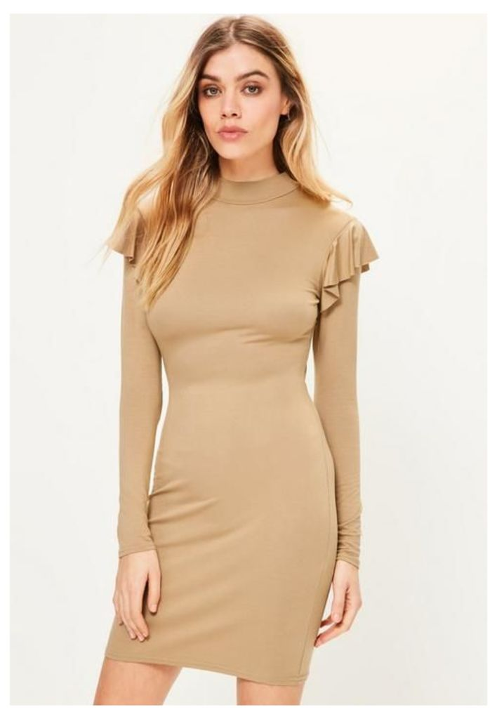 Camel Frill Shoulder High Neck Bodycon Dress, Beige
