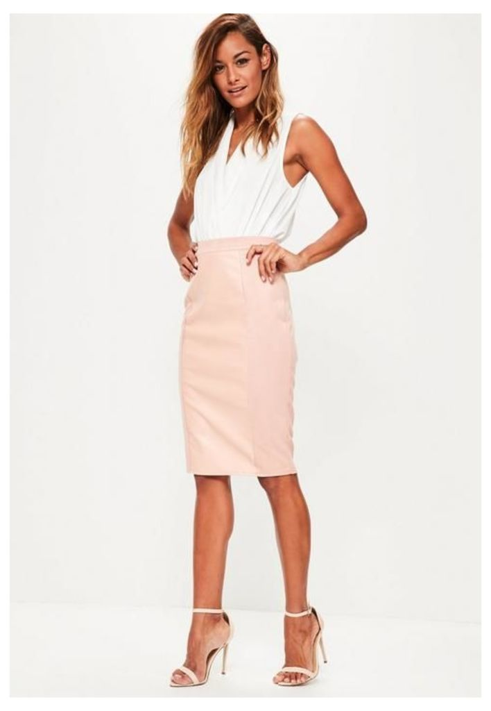 Pink Faux Leather Suede Panelled Midi Skirt, Pink