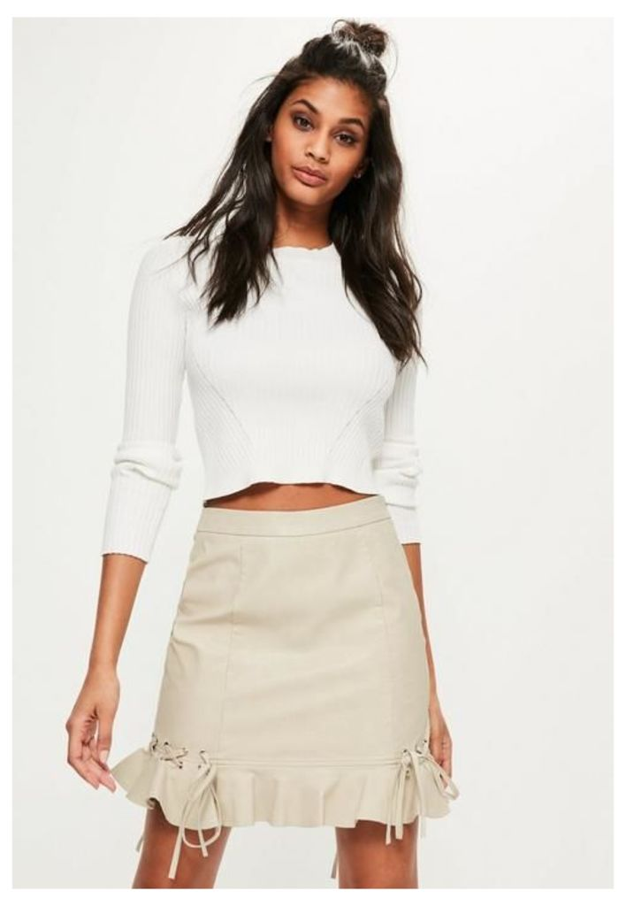 Cream Faux Leather Frill Mini Skirt, Cream