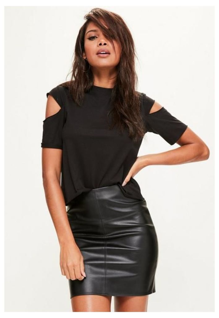 Black Faux Leather Textured Mini Skirt, Black