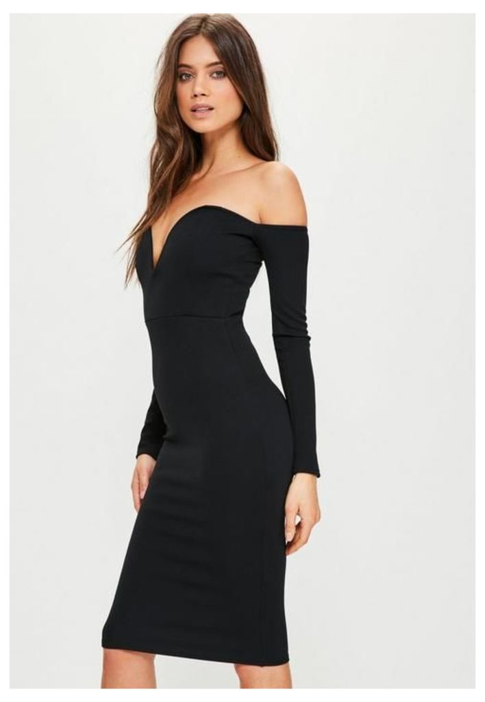 Black Bardot V Bar Bodycon Dress, Black