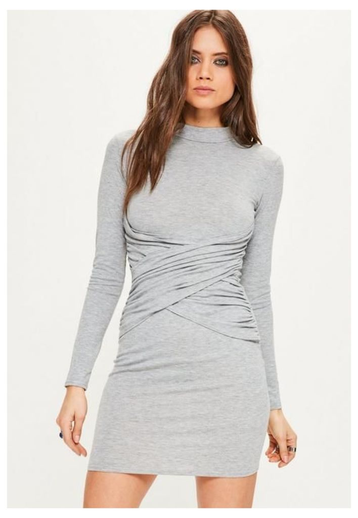 Grey High Neck Cross Front Bodycon Dress, Grey