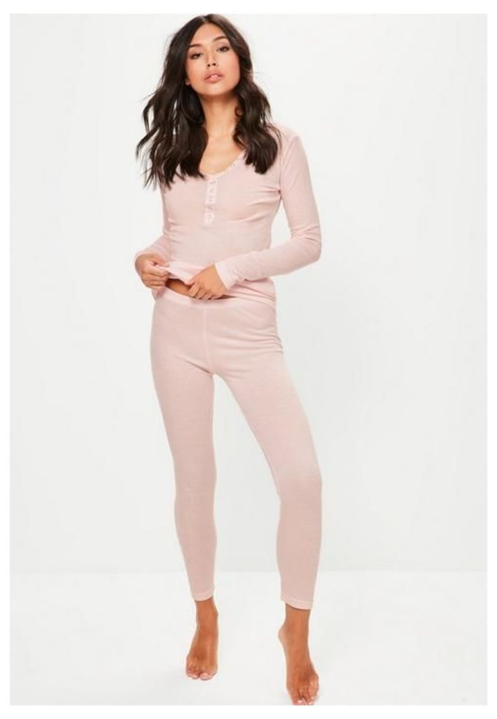 Pink Ribbed Top & Leggings Pyjama Set, Pink