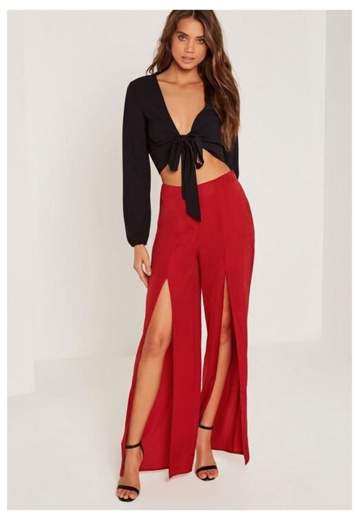 Satin Split Front Wide Leg Trousers Red, Red
