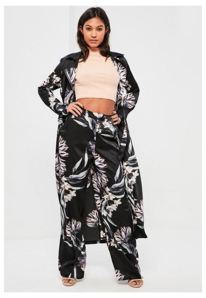 Black Floral Printed WIde Leg Satin Trousers, Black