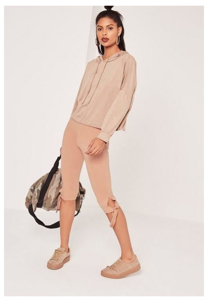 Cropped Tie Knee Leggings Nude, Beige