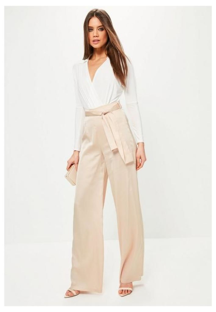 Tall Exclusive Nude Satin Tie Waist Wide Leg Trousers, Beige